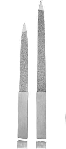 Lima per unghie di alta qualità in acciaio inox – con piccola lima da viaggio in set da 2 pezzi – Lima per unghie gel e unghie naturali – grazie alla struttura elegante molto durata/inossidabile