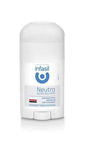 Infasil Deodorante Stick Neutro Extra Delicato, Formula Antimacchia Senza Sali di Alluminio, Efficace Fino a 24h, 50 ml