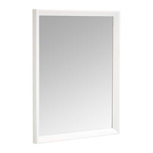 Amazon Basics Specchio da parete rettangolare da 40,6 x 50,8 cm, finitura a sbalzo, bianco