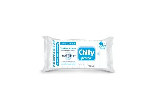 Chilly Salviettine con Antibatterico, Salviette per l'Igiene Intima, Azione di Difesa, Tessuto 100 % Biodegradabile, Ottime Fuori Casa, PH 5, Clinicamente Testato, Una Confezione da 12 Salviettine