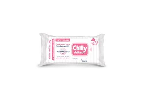 Chilly Salviettine Delicate, Salviette per l'Igiene Intima, Azione Delicata, Tessuto 100 % Biodegradabile, Ottimi Fuori Casa, PH 5 Delicato, Clinicamente Testato, 1 Confezione da 12 Salviettine