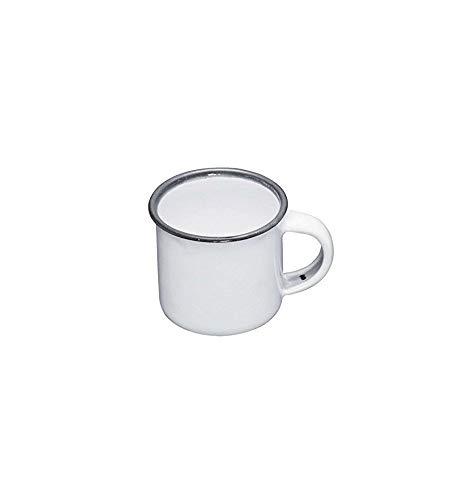 Tazzina da caffè Smaltata, Collezione Living Nostalgia di KitchenCraft, 90ml, Smalto, White/Grey, 90 ml