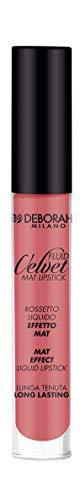 Deborah Fluid Velvet Lipstick N.02 Romantic Pink Lunga Tenuta, con Mix di Oli per Labbra Idratate, Morbide e Vellutate