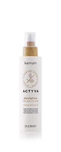 Kemon - Actyva Disciplina Relax Fluid, Fluido Disciplinante per Capelli Crespi, con Acido Ialuronico e Olio di Mandorle, Effetto Liscio - 150 ml