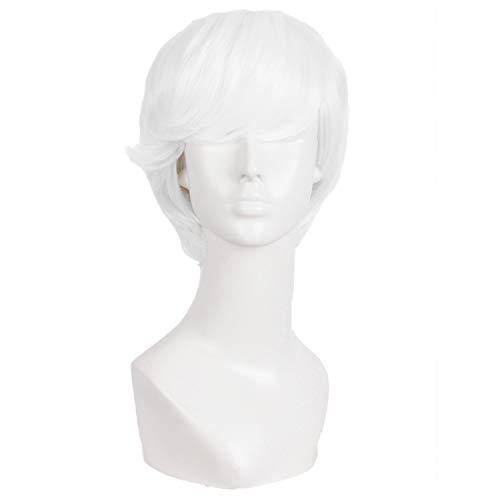 MapofBeauty 10 Pollic/25cm Moda Uomini Corto Riccio Capelli Cosplay Parrucca (Bianco)