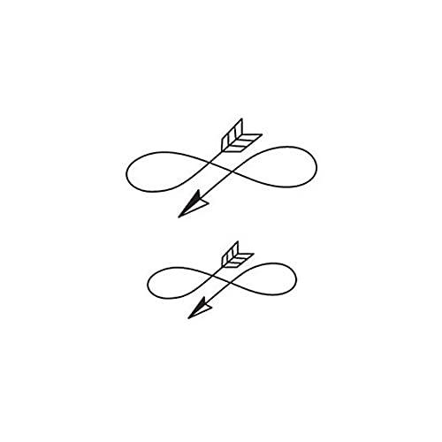 JZLMF Adesivi per tatuaggi impermeabili con scritta in lingua inglese 'Love' e scritta in lingua inglese 'Infinito amore', colore bianco e nero