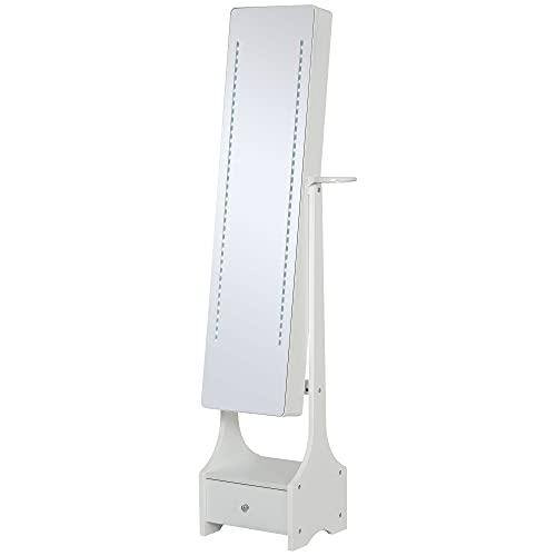 homcom Armadio Portagioie con Specchio e Luci a LED Regolabili con Interruttore Touch, per Bracciali, Orecchini e Anelli