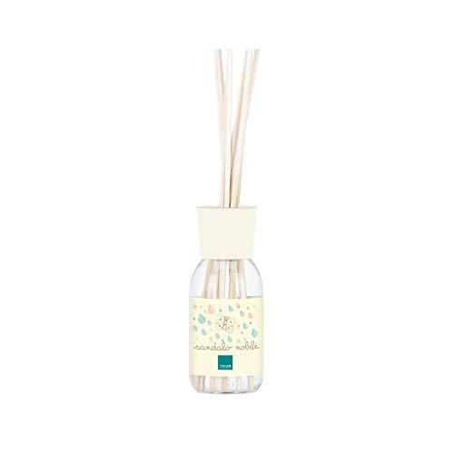 THUN ® - Diffusore di Fragranza Naturale per Ambiente - Essenza Sandalo Nobile - con Bacchette in Legno - Vetro - 100 ml