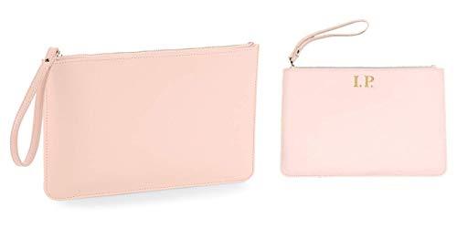MAYRA Pochette Beauty Case Borsetta Multiuso Ecopelle Semil pelle Personalizzabile con Ricamo del Nome o Iniziali Personalizzata (Rosa)