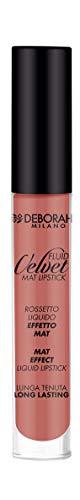 Deborah Fluid Velvet Lipstick N.01 Antique Rose Lunga Tenuta, con Mix di Oli per Labbra Idratate, Morbide e Vellutate