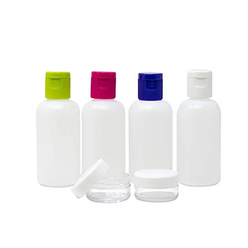 navig8 Set di flaconi da viaggio, composto da 2 flaconi da 100 ml, 1 flacone morbido da 90 ml, 2 contenitori da 15 ml e 1 bustina per il transporto