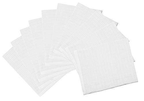 ZOLLNER 10 guanti da bagno per neonato, 100% cotone, bianche, 17x22 cm