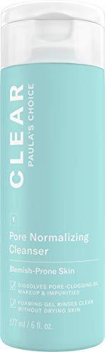 Paula's Choice Clear Gel Detergente Viso - Pulizia Trucco e Rimuove Brufoli & i Pori Dilatati - con Acido Salicilico e Pantenolo - Tutti i Tipi di Pelle - 177 ml