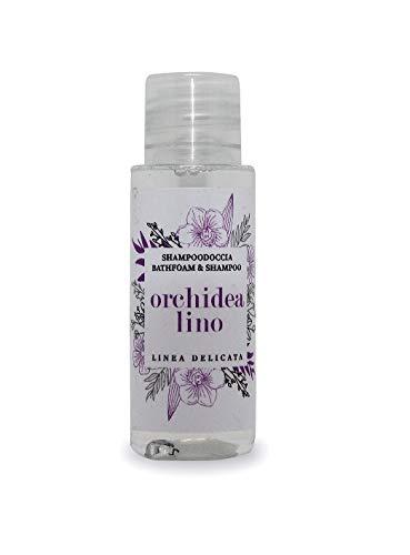 Shampoo doccia, cortesia hotel, b&b, 100 flaconi da 30ml fragranza Orchidea & Lino