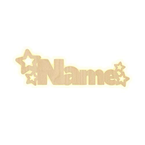 Lampada da parete con stelle e nome per cameretta dei bambini, a LED, personalizzabile, decorazione in legno, idea regalo
