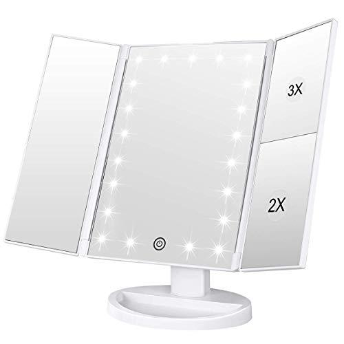 WEILY Specchietto per Il Trucco con Touch Screen Tri-Fold, ingrandimento 1x / 2X / 3X e Caricatore USB o Wireless, Luce LED Regolabile a 180 ° per Il banco da Viaggio Specchio per Il Trucco (Bianca)