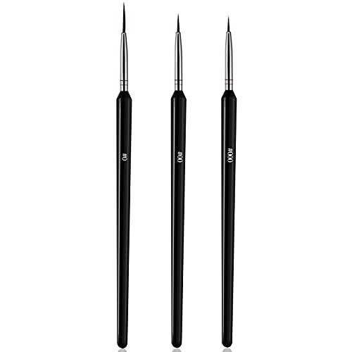 Ealicere Pennelli per Unghie, 3pc Pennello per Nail Art Per Disegnare Linee Fini Attrezzo
