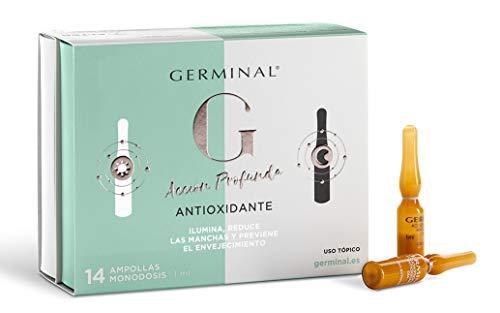Germinal Siero Viso con Vitamina C, Vitamina E e Vitamina B12 - Antiossidante Notte e Giorno Con Effetto Antimacchia, Antietà e SPF 30-7 Fiale Giorno x 1 ml, 7 Fiale Notte x 1ml