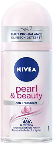 Nivea Pure Pearl & Beauty Deo Roll On (50 ml), rullo anti-agrumi per pelle delle ascelle curata, deodorante 48 ore con protezione antibatterica
