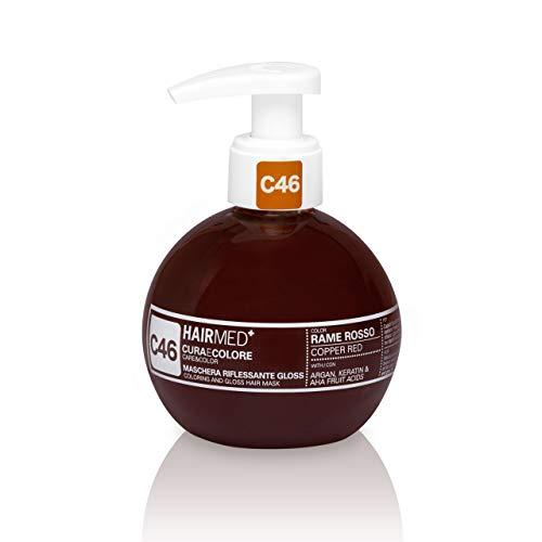 HAIRMED - Cura e Colore - Maschera Riflessante Capelli - Bagno di Colore Senza Ammoniaca - Gloss C46 - Rame Rosso - 200 ml