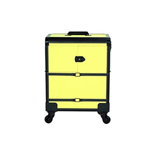 Custodia per trolley da trucco, 2 in 1 Custodia da viaggio per trucco da trucco, beauty make up bag, organizer per cosmetici su ruote (giallo, verde) (colore : Giallo)