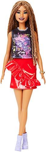 Barbie Fashionista, Bambola Afroamericana con Top Fantasia e Gonna Lucida Rossa, Giocattolo per Bambini 3+ anni, FXL56
