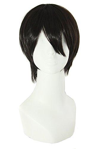 MapofBeauty 12 Pollic/30 cm Realistico Sintetico Cosplay parrucca Lisci Corto Parrucche (Nero)