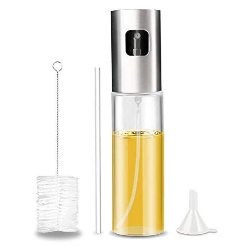 Gifort Olio Spruzzatore, Dispenser per Spruzzatore di Olio 100ML Nebulizzatore Olio Cucina in Vetro per BBQ, insalata, pane di cottura, cucina, incluso tubo spazzola e imbuto in silicone