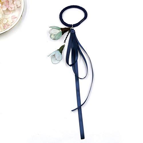 Gioielli capelli fascia streamer fiocco fiocco corda elastico Zama coda fiore femmina fata vento vento, cerchio capelli blu navy 492