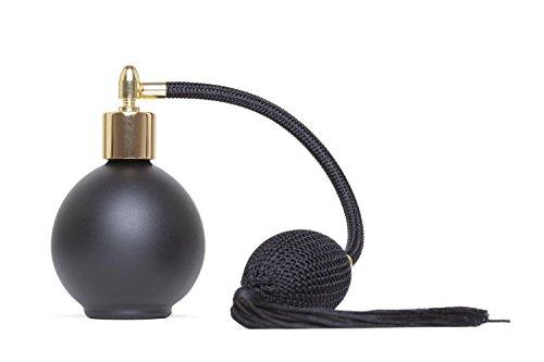 Flacone di profumo rotondo in vetro nero opaco, 78 ml, con nebulizzatore a pompetta e nappa neri Imbuto e confezione regalo inclusi (GF).