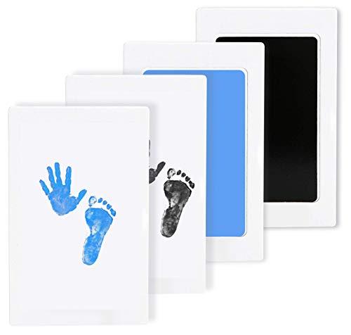 LxwSin Kit Impronta e Impronta del Bambino, Sicurezza Impronte Inchiostro Bambini, 2 Pcs Baby Clean Touch Ink Pad Inkless Baby Kit di Impronte Non Tossico e Senza Pasticcio per Neonati, Pet (Nero/Blu)
