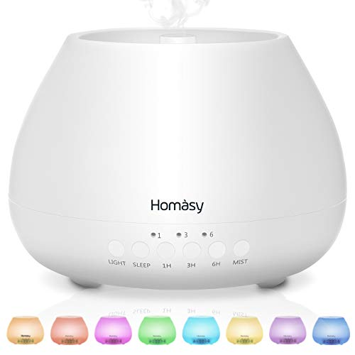 Homasy 500ml Diffusore di Oli Essenziali, 23dB diffusore di aromi con Modalità Sleep, Diffusore Oli Essenziali Ultrasuoni Fino a 20 Ore di Lavoro, Diffusore Ambiente Luci Notturne 8 Colori, Bianco