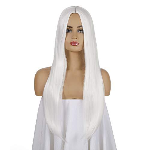 "Bianco Straight Parrucca Lunga Donna Wig Sintetici Forma Fashion Naturale Hairdo(67cm/27"") White"