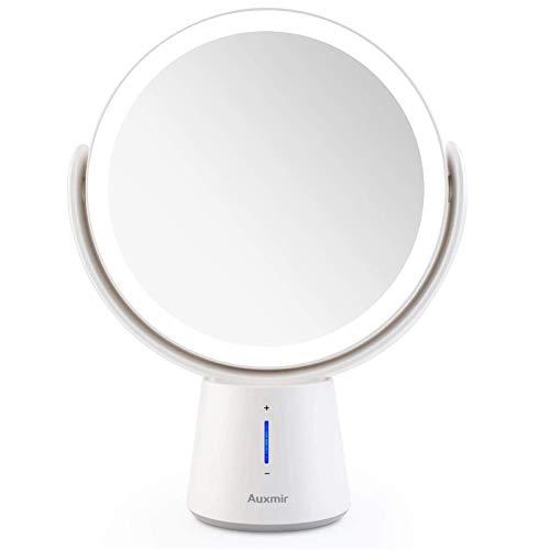 Auxmir Specchio Trucco LED Specchio Ingranditore 10X/1X a Doppia Faccia Luminosità Regolabile a 5 Livelli Rotazione a 360 ° Specchio da Tavolo Ideale per Trucco Rasatura Cura del Viso