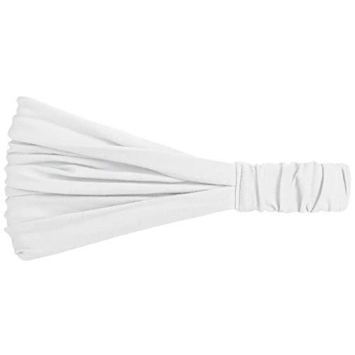 Fascia per Capelli per Le Donne alla Moda, Bandana Estiva, Sportiva e Trendy in Molti Colori Diversi, Fascia in Taglia Unica (52-60 cm) Bianco