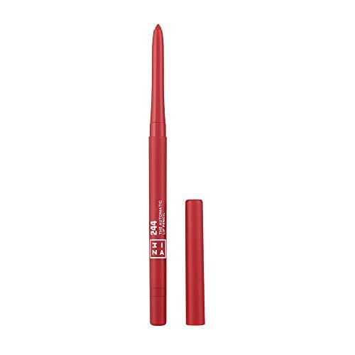 3INA MAKEUP - Cruelty Free - Vegano - The Automatic Lip Pencil 244 - Matita Labbra Retrattile a Lunga Durata - Waterproof - con Pennellino Integrato - Rosso