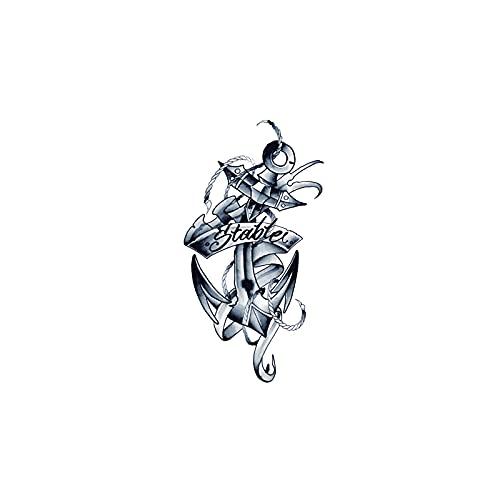 JZLMF Adesivo per tatuaggio impermeabile da uomo a forma di braccio di fiori, modello snodato con ancora stabile