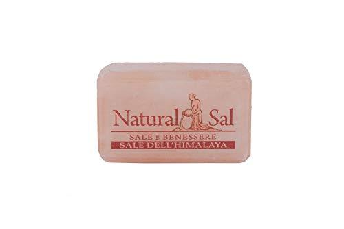 NaturalSal Sapone di Sale Rosa dell'Himalaya, Forma Rettangolare, 100% sale rosa dell' Himalaya, equilibra il PH della pelle e stimola il rinnovamento cellulare, attenua psoriasi, acne e dermatiti.