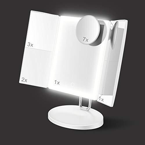 TOUCHBeauty Specchio per Trucco Illuminato,Specchio Trucco con Luce LED Regolabile,Ingranditore 1X/2X/3X/7X,con Touch Screen Tri-Fold e Base,Caricatore USB o Wireless AG-1971W(Bianca)
