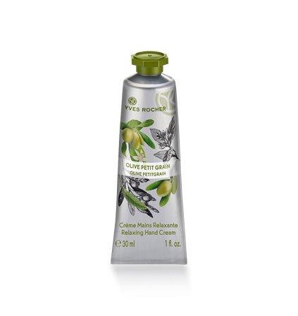 Yves Rocher, Les Plaisirs Nature, crema mani all'oliva petitgrain, idratante, per la cura delle mani, 1 tubetto da 30 ml