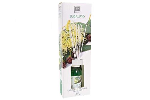 GIRM® - ME16514 Diffusore d'Essenza con Bastoncini in Cotone Aroma eucalipto ml 125