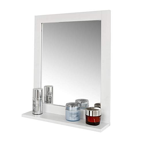 SoBuy Set mobili da Bagno salvaspazio (Specchio, Bianco) FRG129-W
