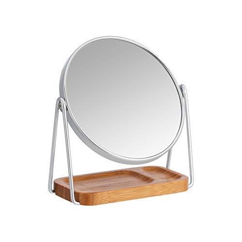 Amazon Basics - Specchio cosmetico con vassoio quadrato in bambù, ingrandimento 1x/5x