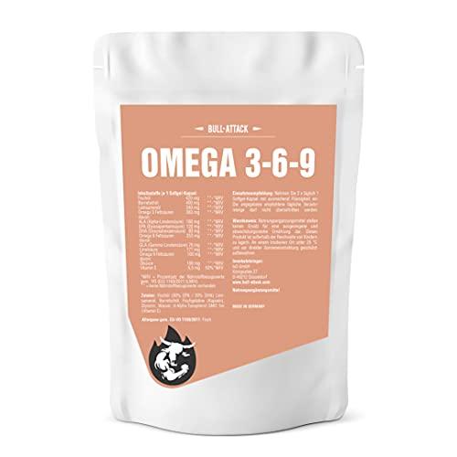 Omega 369 (250 Capsule Softgel á 1000mg) Omega 3 6 9 - Olio di pesce + Olio di semi di lino - Olio di borragine - Acidi grassi sani