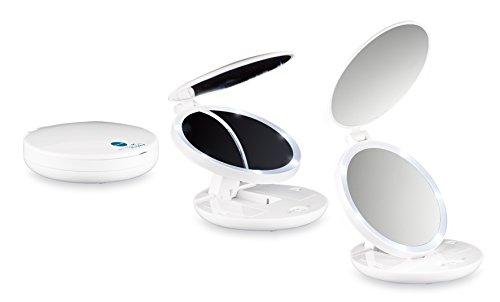 MACOM Sensation 218 Pocket Mirror. Mini Doppio Specchio Cosmetico e Luminoso da Viaggio, Ingrandente 7x, Diametro 11,5 cm