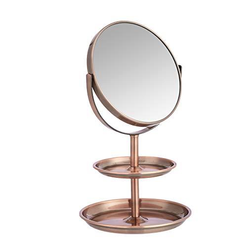 Amazon Basics - Specchio cosmetico con doppio ripiano, ingrandimento 1x/5x, bronzo