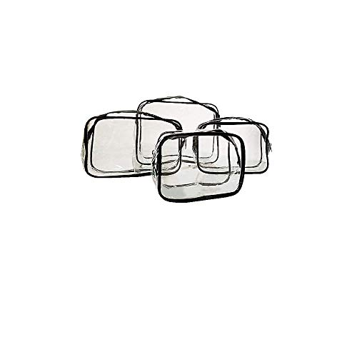 Borsa per trucco in PVC trasparente, set di 4 sacchetti per cosmetici da viaggio, Trousse Trasparente Toiletry Bag Kit, borsa per cosmetici