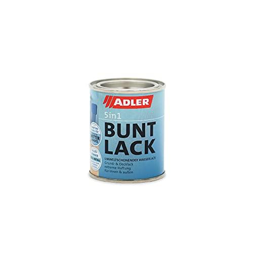 ADLER 5in1 Smalto colorato per interni ed esterni - Opaco - RAL9005 Nero intenso 125 ml - Smalto resistente alle intemperie e fondo per legno, metallo e plastica