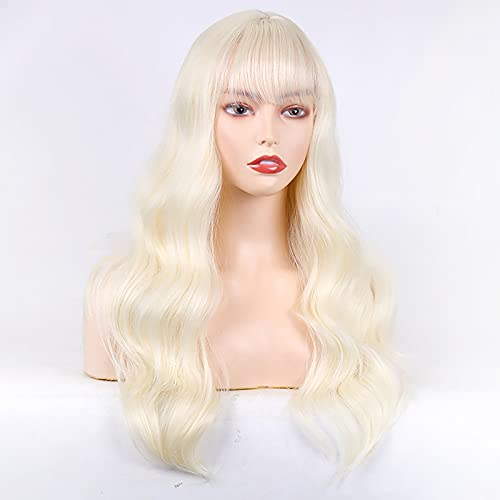 Parrucca sintetica ombre con frangia, parrucca ondulata lunga per le donne, parrucca bionda in platino 24 pollici (bionda in platino),White blonde