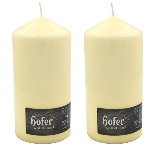 Hofer Candele Provantis 10 x 20 cm, Cera a Colonna Cilindriche - 2 Candele - Lunga Durata: 110 Ore, Colore Avorio - Antigoccia, No Fumo - 2 Pezzi